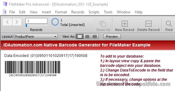 Code 128 Filemaker Barcode Generator 17 04 Free download